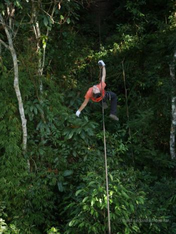 Ziplining to the next platform, The Gibbon Experience, Laos
