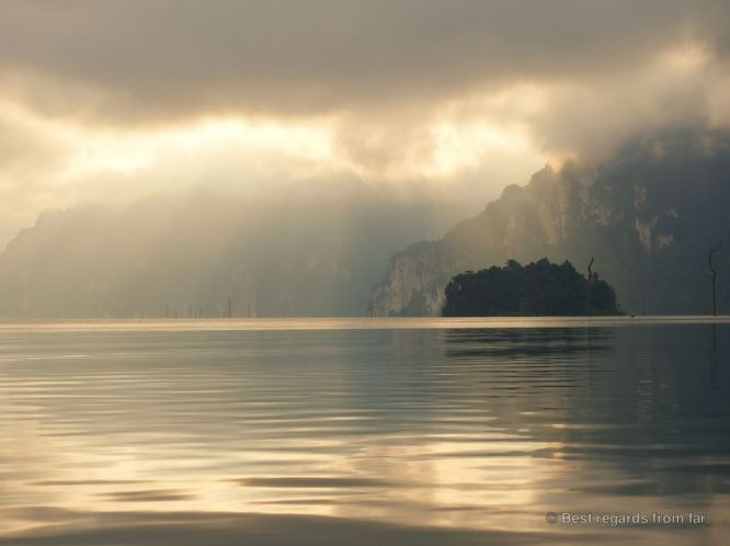 Sunrise at Cheow Lan Lake, Khao Sok, Thailand