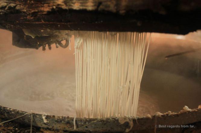 Rice noodle making, Battambang, Cambodia