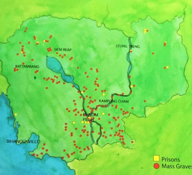 Locations of Kampuchea Democratic prisons and mass graves, Cambodia