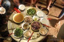 Breakfast with rice whisky, Akha village trekking, Laos
