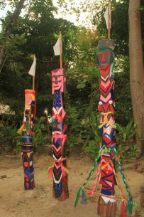 Moken totems representing the spirits, Surin islands, Thailand