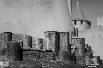 Bronze mock up of Carcassonne with the castle in the background, France