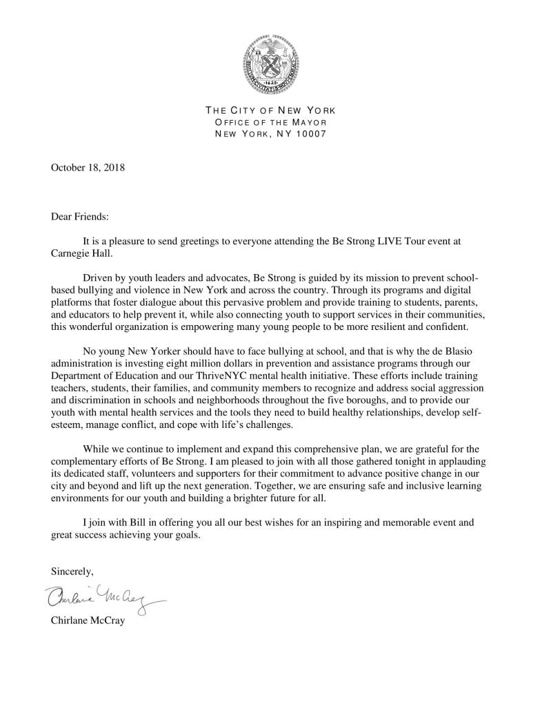 The City of New York Office of the Mayor - Chirlane McCray Support Letter | Be Strong