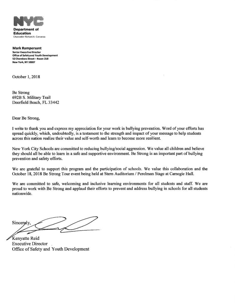 NYC DOE Letter of Support - Kenyatte Reid