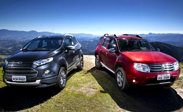 Ford Ecosport Renault Duster Brazil June 2013. Picture courtesy of midianews.com.br