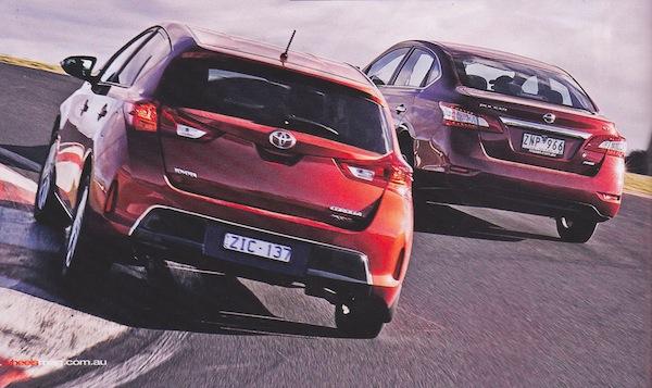 Toyota Corolla Nissan Pulsar Australia June 2013. Picture courtesy of Wheels Magazine