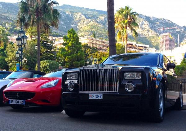 Ferrari California Rolls Royce Phantom Monaco August 2013b