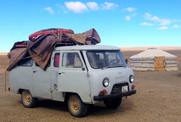 UAZ Silver Mustang with ger