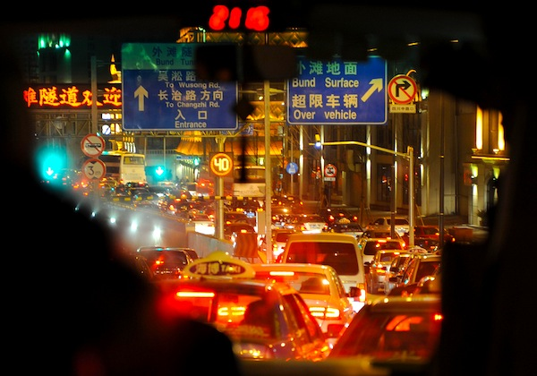 Shanghai night traffic. Picture courtesy of Jacqtai via Flickr