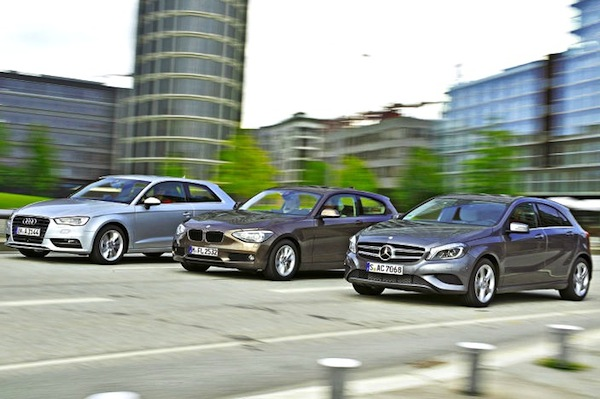 Audi-A3-BMW-1-Mercedes-A-Class. Picture courtesy Auto BIld