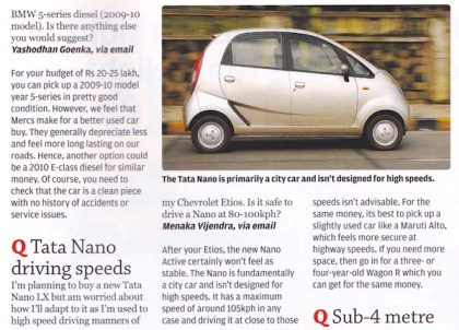 Tata Nano driving speed. Picture courtesy What Car India March 2014