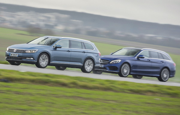 VW Passat Mercedes C-Class Germany January 2015. Picture courtesy largus.fr