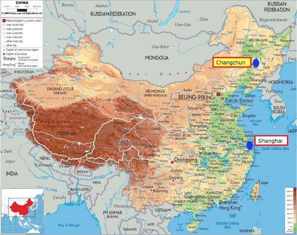 2. China map with Changchun