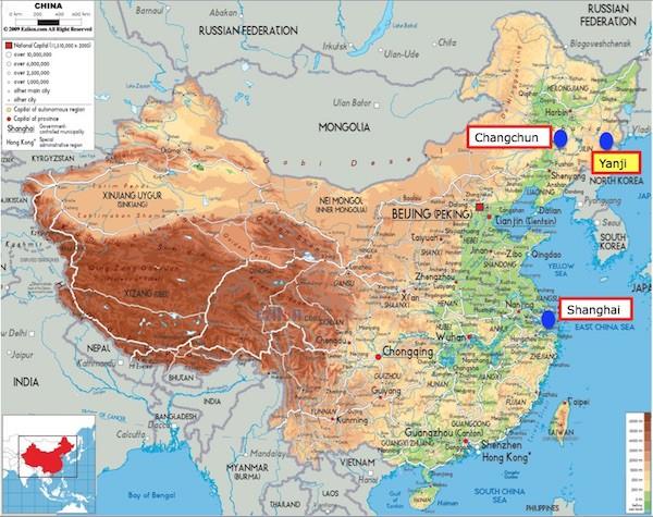 China map with Yanji