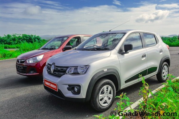 Renault Kwid Maruti Alto K10 India October 2015. Picture courtesy gaadiwaadi.com