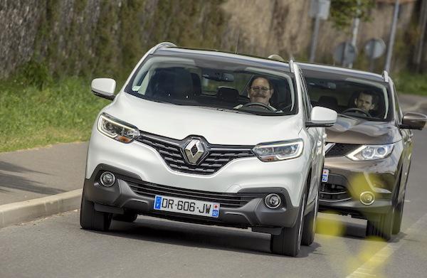 Renault Kadjar Nissan Qashqai Europe March 2016. Picture courtesy largus.fr