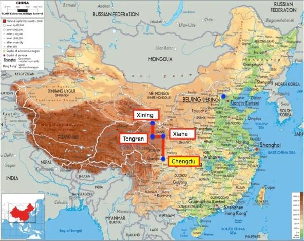 China map with Chengdu
