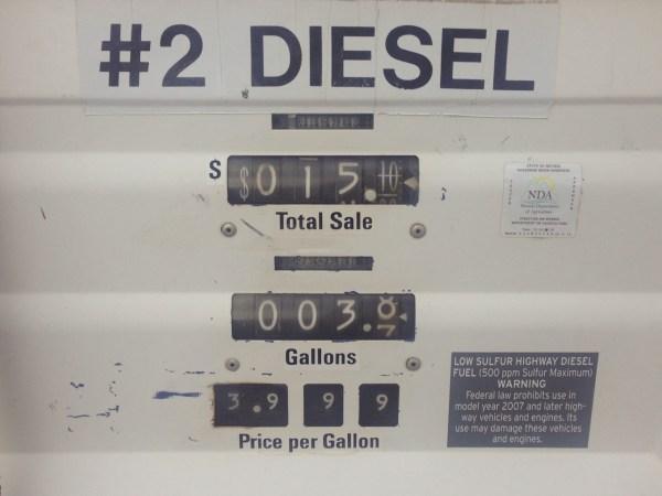Diesel price Middlegate NV