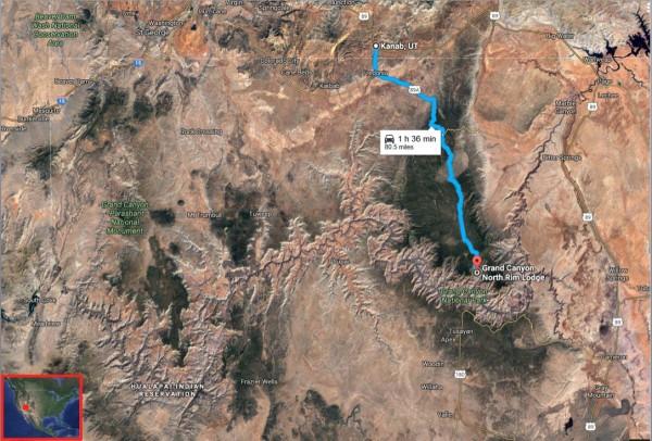 Kanab Grand Canyon NP map