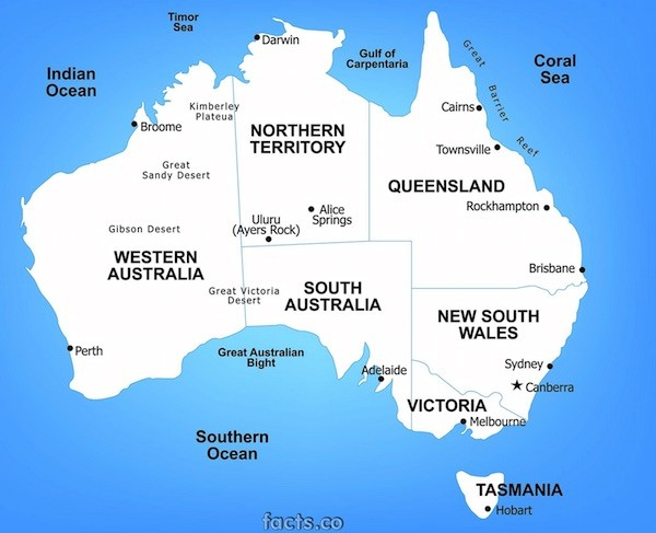Australia Map. Picture courtesy facts.co