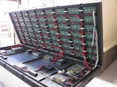 LED Signs - LED Cabinet Open - Internal Power Supplies and Wiring of Modules