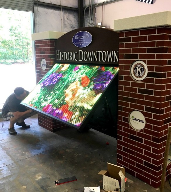 Wentzville Historic Downtown Sign Monument with Full-Color LED panel Open
