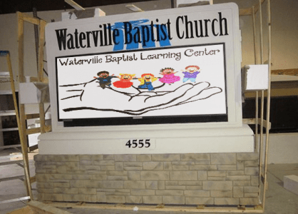Baptist Church Full-Color LED Sign Monument Before Shipping