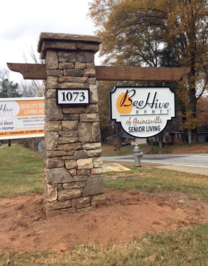 Beehive Block Stone Sign Column Monument