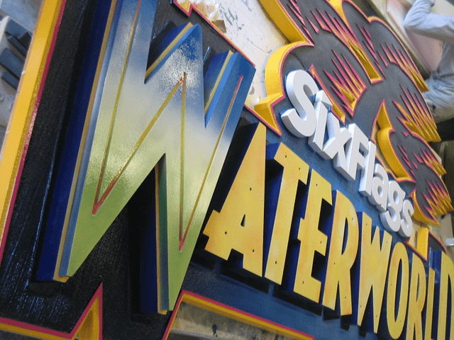 Six Flags Theme Park Waterworld Ride Sign In Production 3