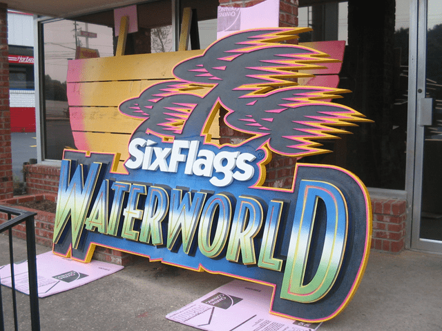 Six Flags Theme Park Waterworld Ride Sign In Production 4