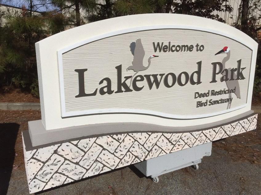 Lakewood Park Neighborhood Entrance Sign and Bird Sanctuary
