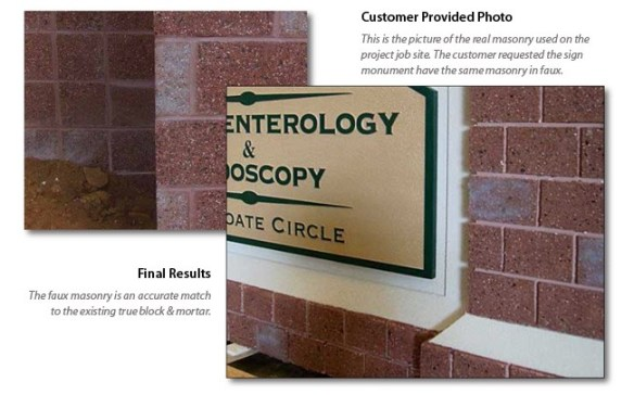 Faux Masonry Sign Monuments - Customer Match Block Pattern