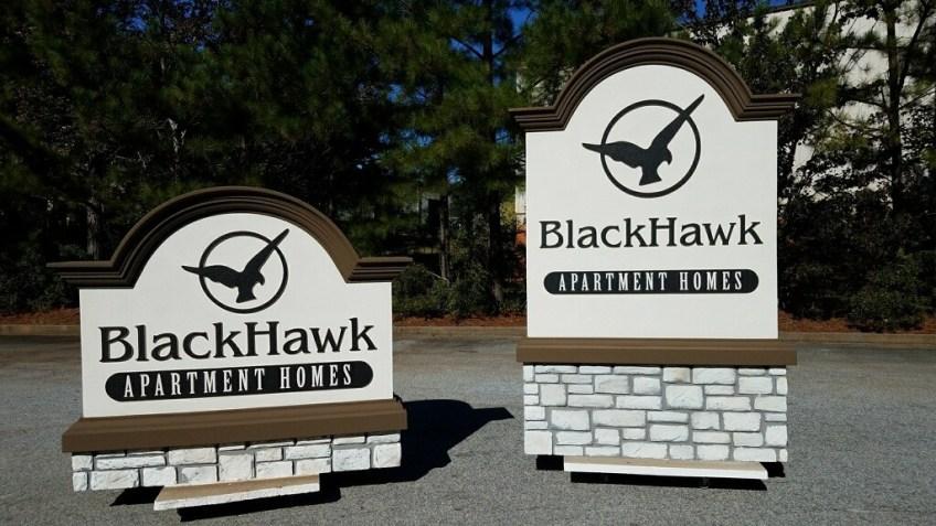Faux Stone Entrance Sign Monument - Blackhawk Apartments