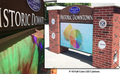 Full-Color LED Cabinets on City Sign Monument