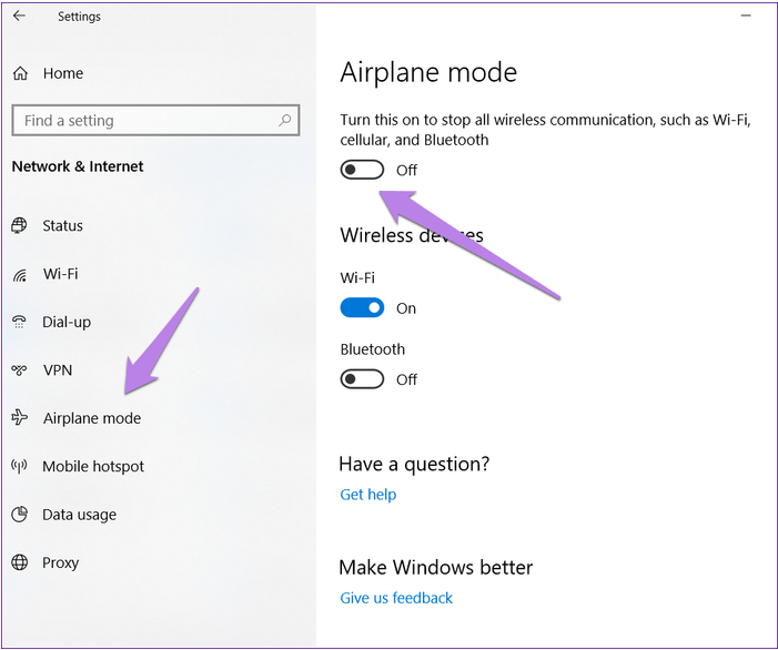 turn off airplane mode in windows 10
