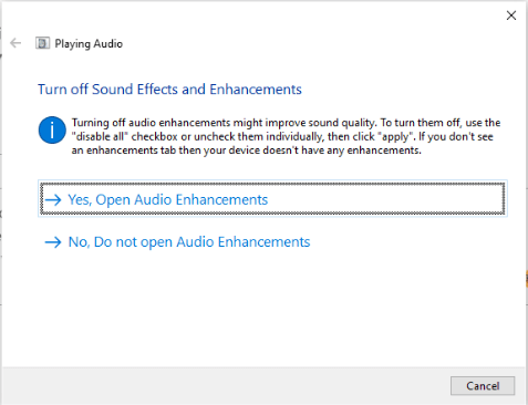 turn off sound effects and enhancements
