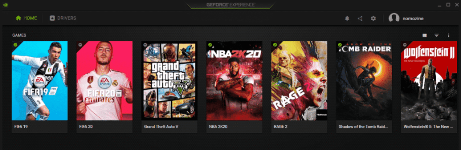 Geforce experience interface with games