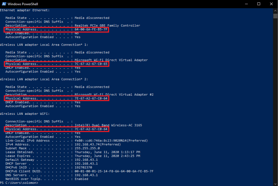 mac address in windows powershell