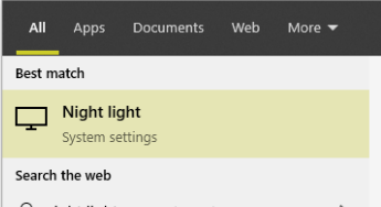 night light result in windows search