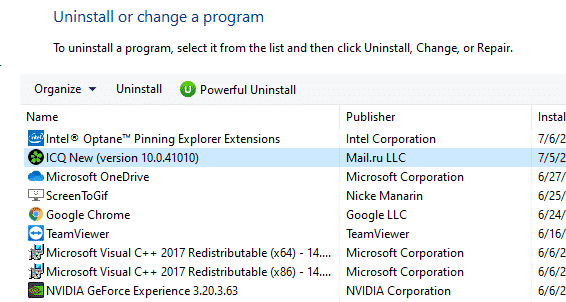 selected program in programs and features