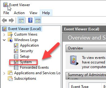 System in event viewer