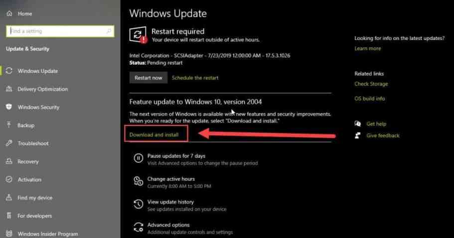 download and install update