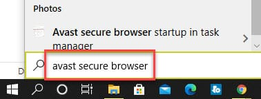 Avast Secure Browser in windows search