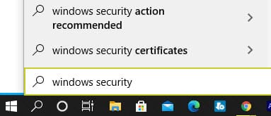 window security in windows search