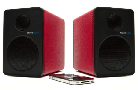 Grace Digital GDI-BTSP207 Powered Bookshelf aptX Bluetooth Speakers (Red, Pair)