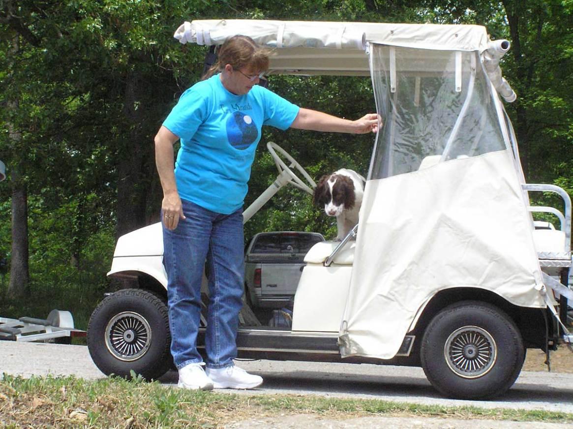 Trixie on golf cart