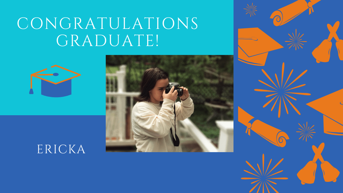 Ericka is a graduating senior. She is taking a photo in this image.