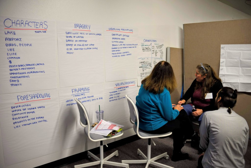 "Image Description: Large Sticky Papers are arranged on a wall, each featuring descriptions ""Foreshadowing"", ""Framing"", ""Values/Ideologies"", ""Characters"", ""Imagery"", ""Underlying Assumptions"", ""Cornerstones"". 2 People sit in chairs and look at the writing on the ""Cornerstones"" paper while a third person kneels next to them in discussion. Photo from the 2018 COO Storytelling Workshop."