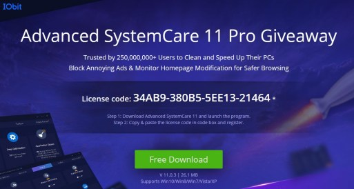 advanced system care 11 1 key